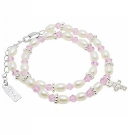 KAYA jewellery Luxury double Christening - Communion Bracelet 'Infinity Pink'