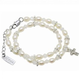 KAYA jewellery Luxury Double Christening - Communion Bracelet 'Infinity White' with Cross Charm
