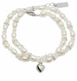 KAYA jewellery Luxury Girls Double Bracelet 'Infinity White' with Heart Charm
