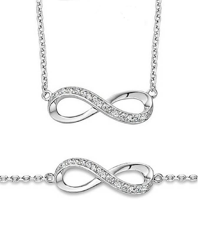 KAYA jewellery Silver Necklace & Bracelet 'Infinity Forever'