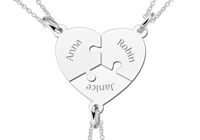 2abccbd4a3fa7 Three Puzzle Piece Friendship Necklace