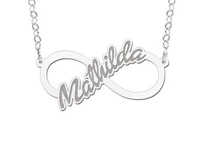 KAYA jewellery Silver personalised infinity necklace 'Your name'
