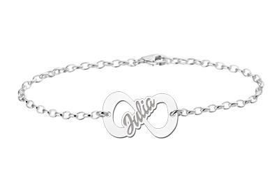 KAYA jewellery Silver Infinity bracelet with name
