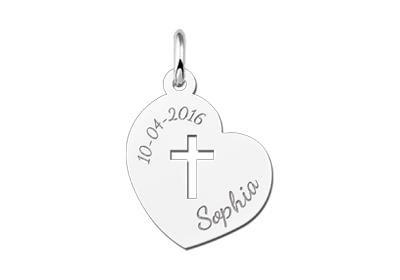 KAYA jewellery Engraved Silver Pendant Holy Communion