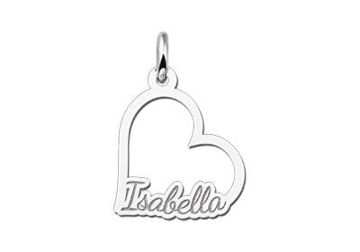 KAYA jewellery Sterling Silver Communion Pendant Heart with Name