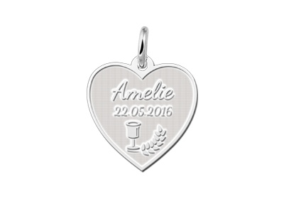 KAYA jewellery Sterling Heart Shaped Communion Pendant