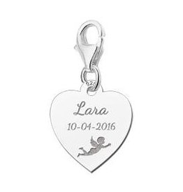 KAYA jewellery Names4ever Engraved Communion Charm Heart with Angel