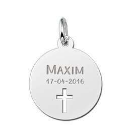 KAYA jewellery Names4ever Communion Silver Pendant with Cross