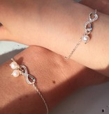 """KAYA jewellery Silver Mum & Me Bracelets set """"You are loved for Infinity"""" 'Pearls"""