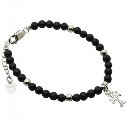 KAYA jewellery Silver Bracelet 'Black Onyx' with Cross