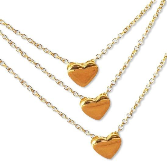 "KAYA jewellery Three Generation Chains with ""golden hearts"""