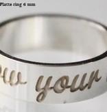 KAYA jewellery Text Ring 6mm Steel engraving