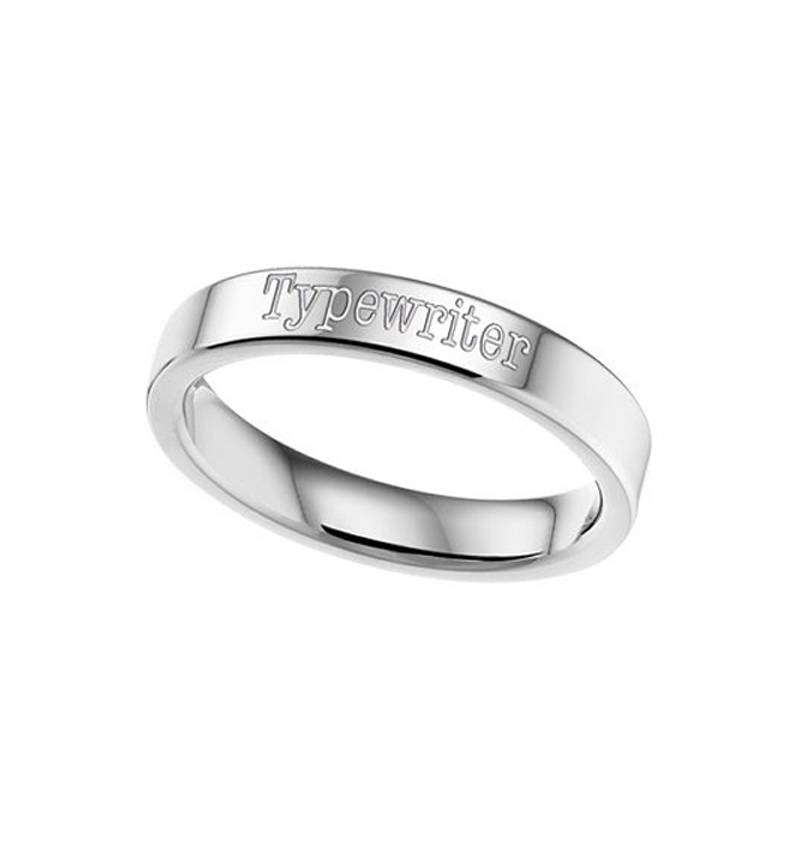 KAYA jewellery Text Ring 4mm Steel engraving