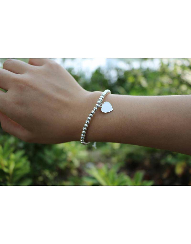 KAYA jewellery Silver bracelet 'Cute Balls' With Three Engraving Charms