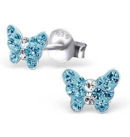 KAYA jewellery Children's Silver Butterfly Ear Studs with Blue Crystal