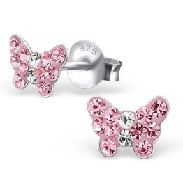 KAYA jewellery Children's Silver Butterfly Ear Studs with Pink Crystal