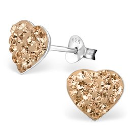 KAYA jewellery Children's Silver Heart Ear Studs with Crystal