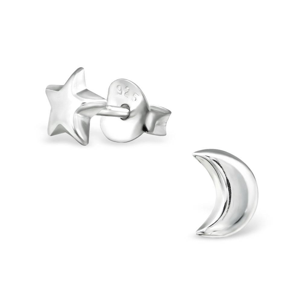 KAYA jewellery Silver Star and Moon Ear Studs