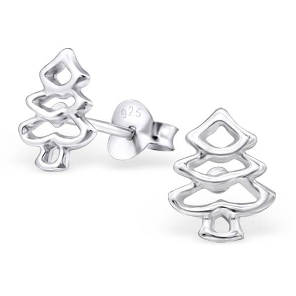 KAYA jewellery Plain Silver Christmas Tree Ear Studs
