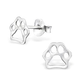 KAYA jewellery Children's Silver Paw Print Ear Studs