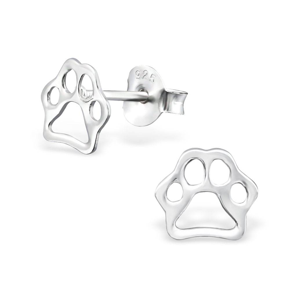 KAYA jewellery Children's Silver Paw Print Ear Studs