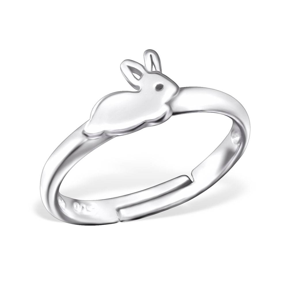 KAYA jewellery Children's Silver Rabbit Adjustable Ring