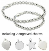 KAYA jewellery Silver bracelets set with two engraved charms