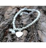 KAYA jewellery Silver bracelet 'Cute Balls' with engraved charm