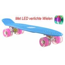 2Cycle Skateboard - LED Wielen - 22.5 inch - Blauw-Roze