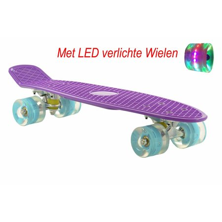 2Cycle 2Cycle Skateboard - LED Wielen - 22.5 inch - Paars-Blauw