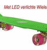 2Cycle 2Cycle Skateboard - LED Wielen - 22.5 inch - Groen-Roze