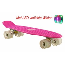 2Cycle Skateboard - LED Wielen - 22.5 inch - Roze-Wit