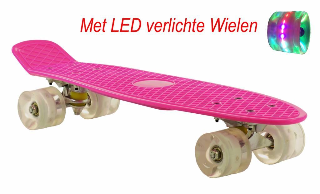 Hedendaags Skateboard Roze-Wit met LED wielen | Prijskiller.nl BR-21