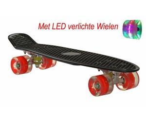 2Cycle Skateboard - LED Wielen - 22.5 inch - Zwart-Rood