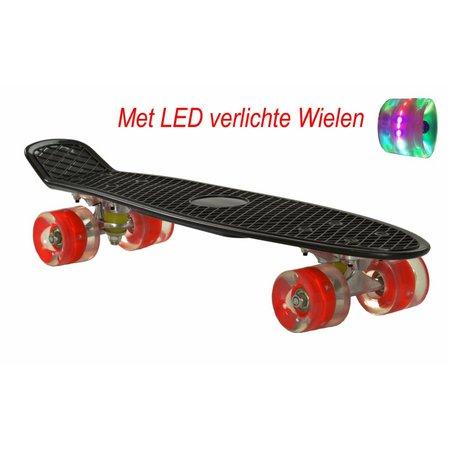 2Cycle Skateboard Zwart-Rood met LED wielen 22.5 inch (3111)
