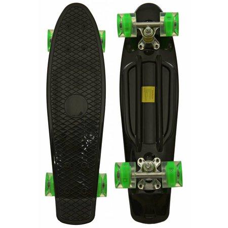 Sajan Sajan Skateboard - LED Rollen - 22,5 Zoll - Schwarz-Grün