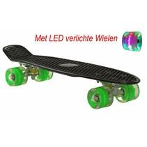 2Cycle Skateboard - LED Wielen - 22.5 inch - Zwart-Groen