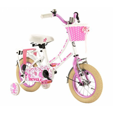 2Cycle 2Cycle Oma Kinderfiets - 12 inch - Roze-Wit