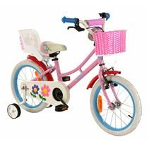 Kinderfiets 16 inch roze-blauw met Poppenzitje