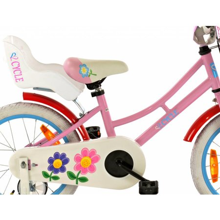Princess 2Cycle Flower Kinderfiets - 16 inch - Poppenzitje - Roze