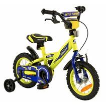 Kinderfiets 12 inch BMX blauw-geel