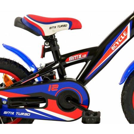 2Cycle Jongensfiets 12 inch BMX blauw-rood (1233)
