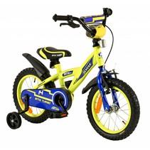 Kinderfiets 14 inch BMX blauw-geel