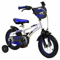 Kinderfiets 12 inch City Blauw-wit