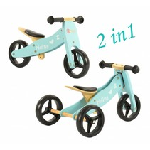 2Cycle 2 in 1 Loopfiets/Driewieler - Hout - Blauw