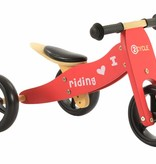 2Cycle Loopfiets-Driewieler Hout 2 in 1 rood (1330)