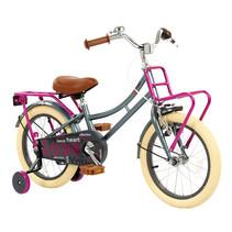 Kinderfiets 16 inch Grijs-Roze