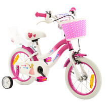 2Cycle Princess Kinderfiets - 14 inch - Wit -Roze
