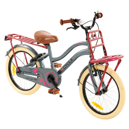 2Cycle 2Cycle Heart Kinderfiets - 18 inch - Grijs-Roze