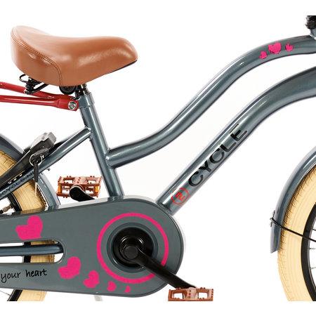 2Cycle 2Cycle Heart Meisjesfiets 18 inch grijs-roze (1887)